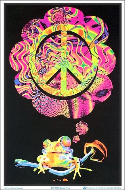 """Mushroom Peace Frog Blacklight Poster - 23"""" X 35"""""""