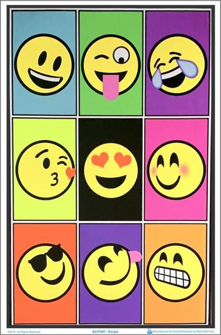 "Emojis Blacklight Poster - 23"" X 35"""