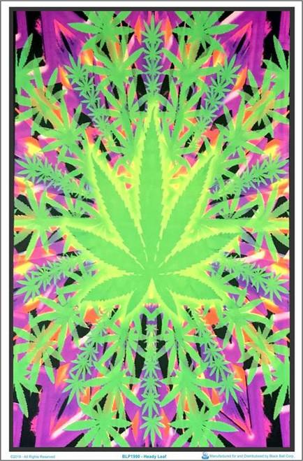 """Heady Leaf Blacklight Poster - 23"""" X 35"""""""
