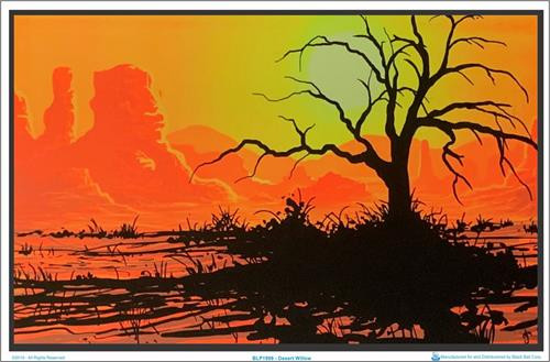 """Desert Willow Blacklight Poster - 35"""" X 23"""""""
