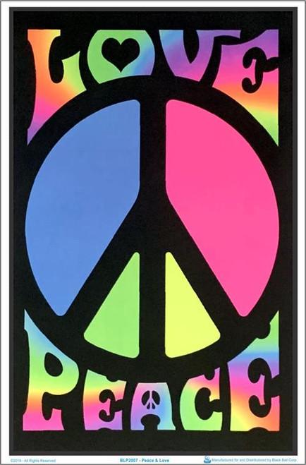 """Peace & Love Retro Blacklight Poster - 23"""" X 35"""""""