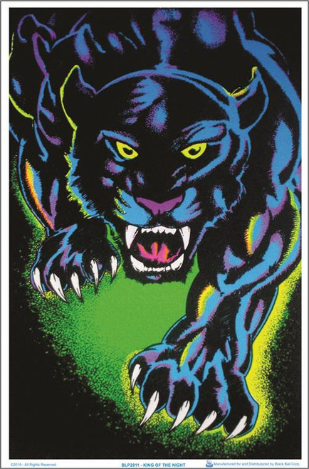 "King of the Night Black Cat Blacklight Poster - 23"" X 35"""