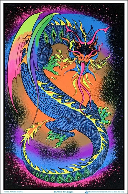 "Fire Dragon Blacklight Poster - 23"" X 35"""