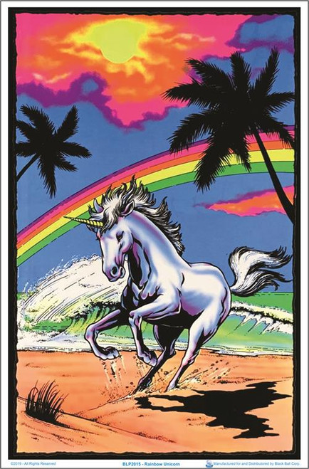 "Rainbow Unicorn Blacklight Poster - 23"" X 35"""