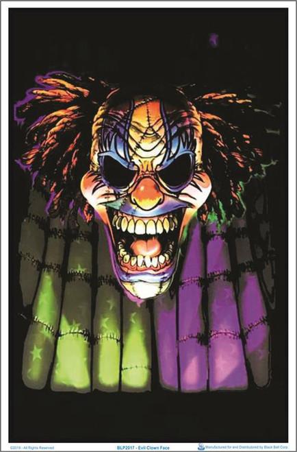 """Evil Clown Face Blacklight Poster - 23"""" X 35"""""""