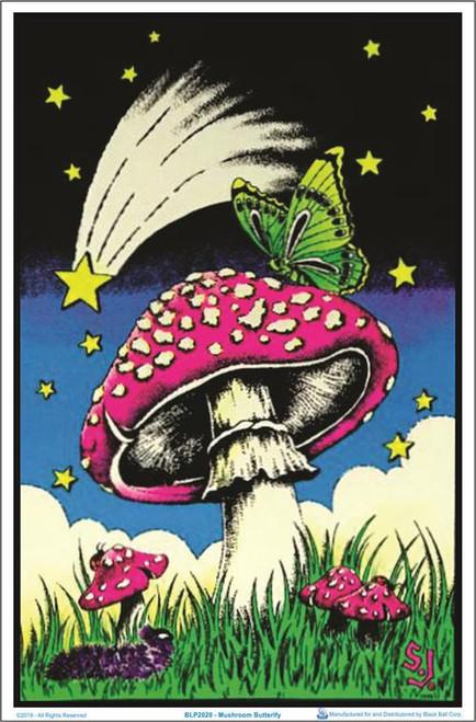"""Mushroom Butterflies Blacklight Poster - 23"""" X 35"""""""