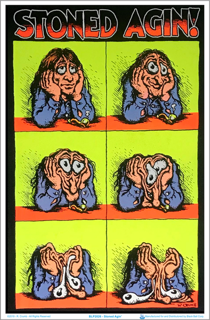 "Stoned Agin' by: R. Crumb Blacklight Poster - 23"" X 35"""