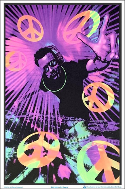 "DJ Peace Blacklight Poster - 23"" X 35"""