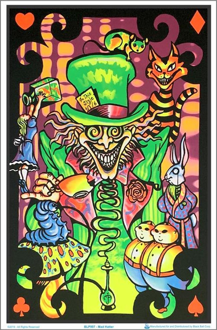 "Mad Hatter Blacklight Poster - 23"" X 35"""