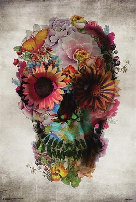 """Flower Skull - Day Of The Dead - Poster - 24"""" X 36"""""""