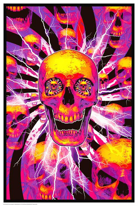 "Hyper Skull - Non Flocked Blacklight Poster - 24"" X 36"""