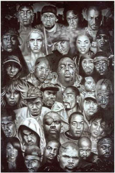 """Hip Hop Collage Poster - 24"""" X 36"""""""