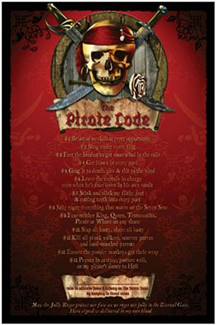 """Pirate Code - Poster - 24"""" X 36"""""""
