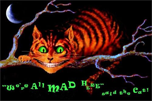 """We're All Mad Here """"Cheshire Cat - Alice In Wonderland"""" Blacklight Non-Flocked Poster - 24"""" X 36"""""""
