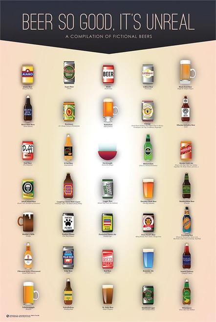 "Beer So Good, It's Unreal Poster - 24"" X 36"""