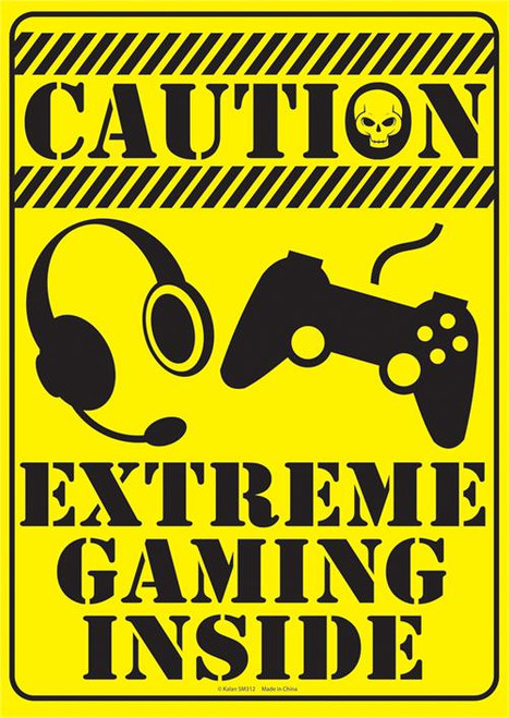 """Caution Extreme Gaming Tin Sign - 8 1/2"""" X 11.75"""""""