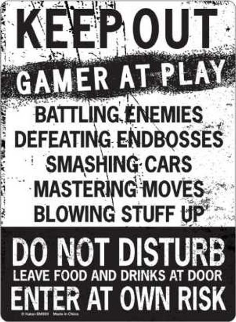 "Keep Out Gamer at Play Tin Sign - 8 1/2 X 11.75"""