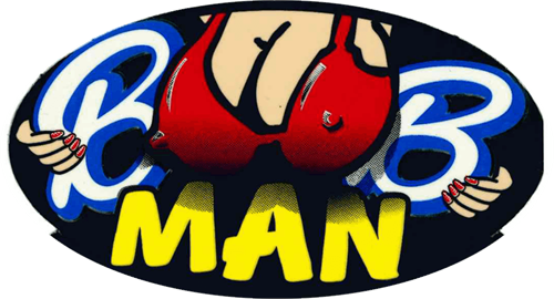"Boob Man - 3 1/2"" X 2 1/2"" - Sticker"