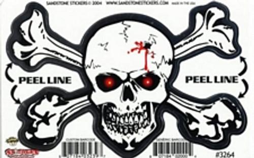 """Skull/Crossbones - Large - 3"""" X 5"""" - Sticker"""
