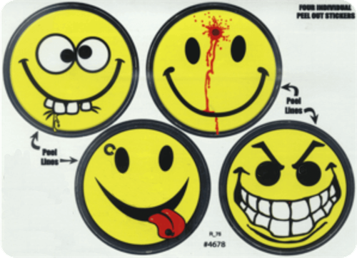 "Smiley Face Variety - Large - 3"" X 5"" - Sticker"