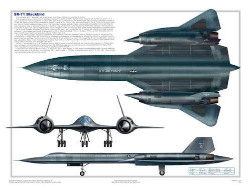 SR-71 Blackbird Three Views Military Airplane Educational Poster 24x18