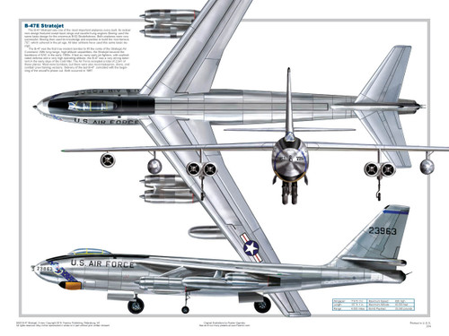 B-47 Three Views Military Airplane Educational Poster 24x18