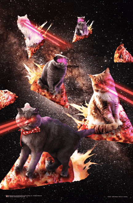 "Space Pizza Cats by James Booker Mini Poster - 11"" x 17"""