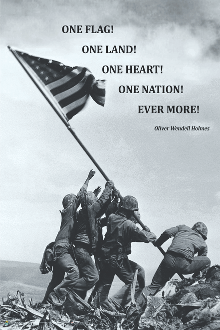 "American Flag at Iwo Jima Poster - 11"" x 17"""