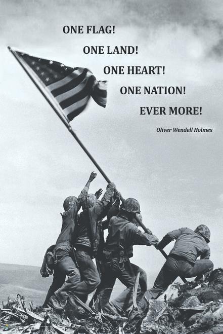 "American Flag at Iwo Jima Poster - 24"" x 36"""
