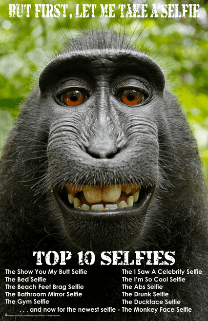 "Monkey - First Let Me Take A Selfie Mini Poster- 11"" x 17"""