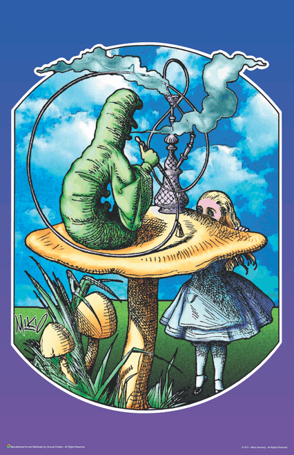 "Alice in Wonderland & Caterpillar by Mikio Kennedy Mini Poster- 11"" x 17"""