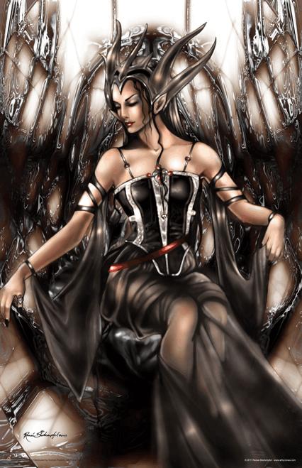 "Dark Thoughts by Renee Biertempfel Fantasy Art Print Mini Poster- 11"" x 17"""