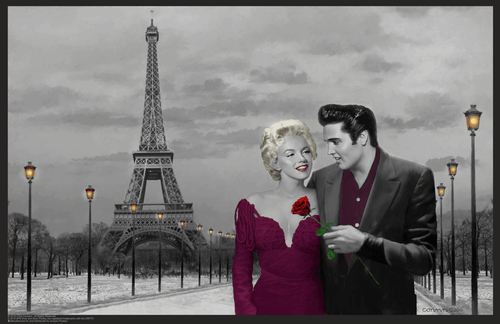 """Paris Sunset with Elvis and Marilyn by Chris Consani Mini Poster- 17"""" x 11"""""""