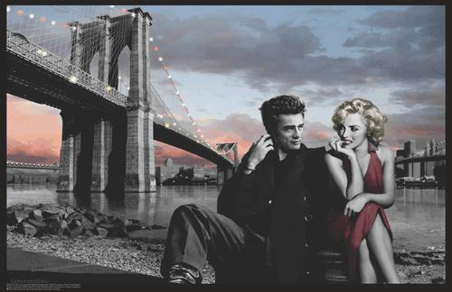 "Marilyn Monroe, James Dean Brooklyn Bridge by Chris Consani Mini Poster- 17"" x 11"""
