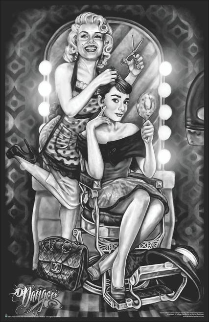 "Marilyn Monroe & Audrey Hepburn Barber Shop by James Danger Harvey Mini Poster- 11"" x 17"""