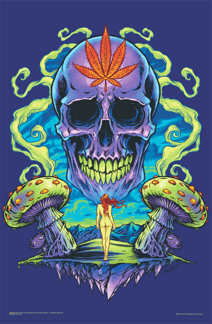 "Purple Cannabis Skull by Flyland Designs Mini Poster 11"" x 17"""