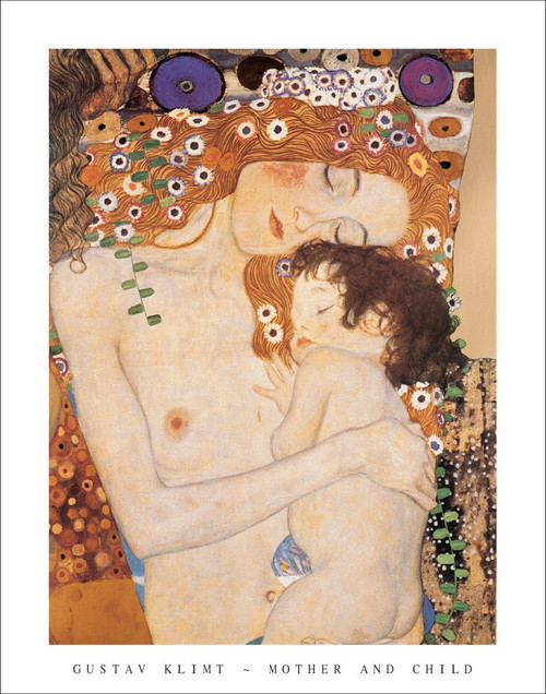 "Mother and Child by Gustav Klimt Poster - 22"" x 28"""