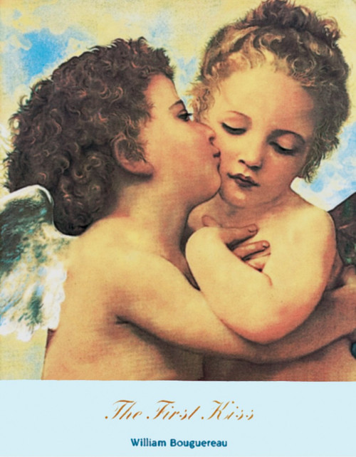 "The First Kiss by Bouguereau 1890 Mini Poster - 11"" x 14"""