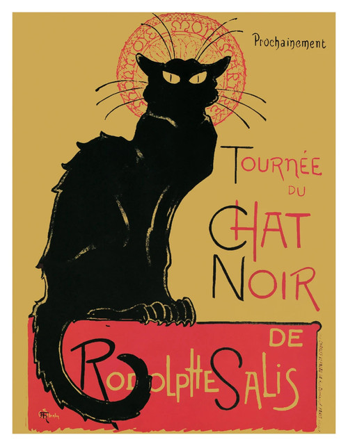 "Chat Noir by Theophile Steinlen Vintage Advertising Mini Poster - 11"" x 14"""