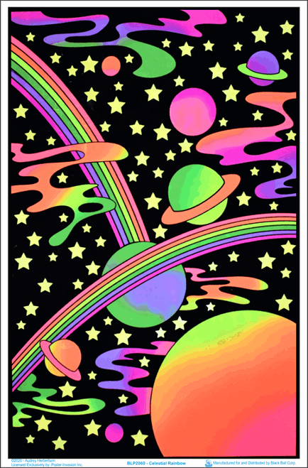 "Celestial Rainbow by Audrey Herbertson Blacklight Poster - Flocked - 23"" x 35"""