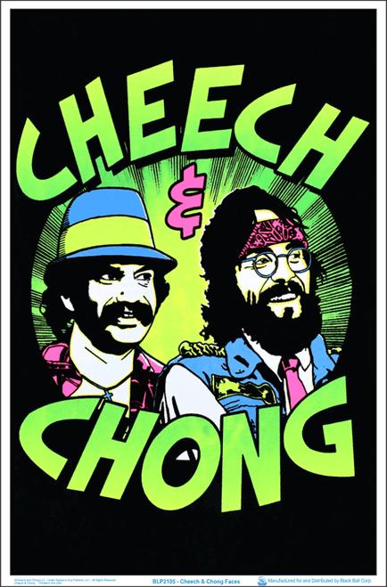 "Cheech & Chong Faces Blacklight Poster - Flocked - 23"" x 35"""