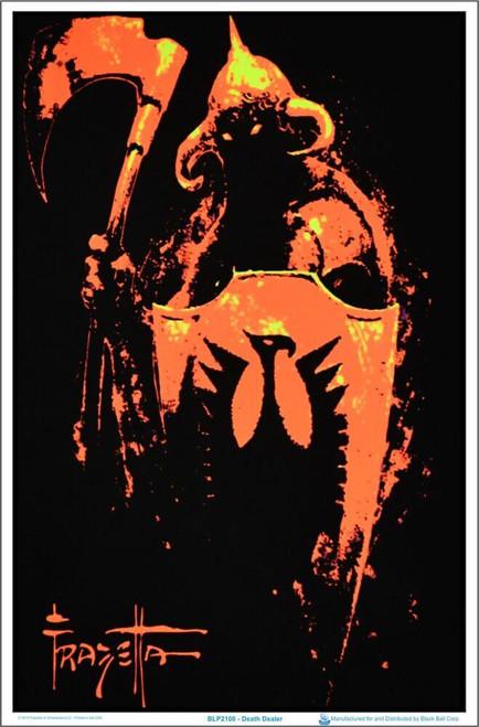 "Death Dealer by Frank Frazetta Blacklight Poster - Flocked - 23"" x 35"""