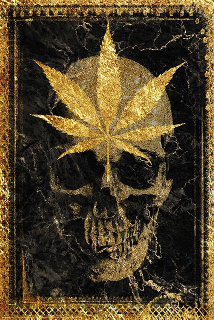 """Gold Leaf Skull by Daveed Benito Poster - 24"""" x 36"""""""