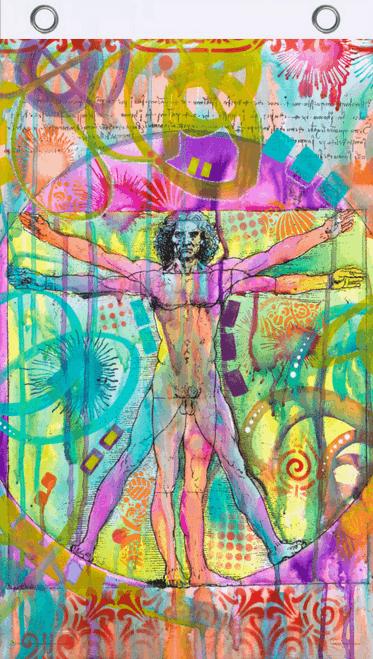 Vitruvian Man by Dean Russo Blacklight Reactive Fly Flag 3' x 5'