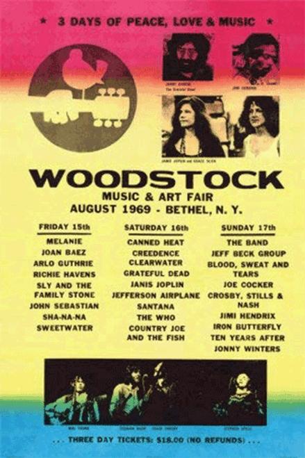 Woodstock Line-Up 1969 Art Print Poster 24x36
