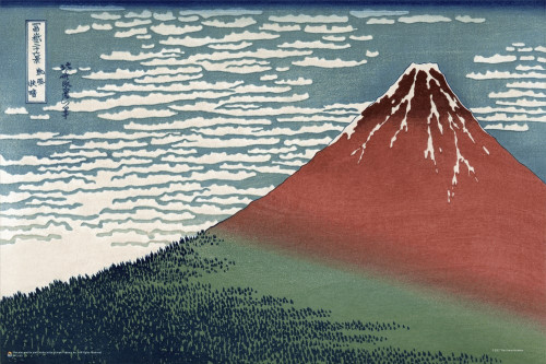 """South Wind, Clear Sky (Red Fuji) by Hokusai Mini Poster 18"""" x 12"""""""