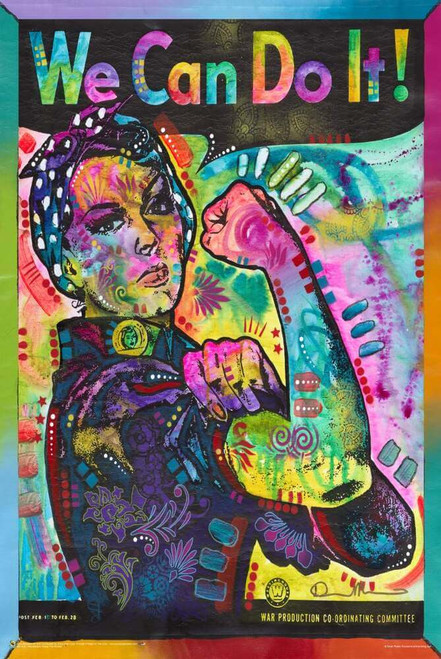 """Psychedelic Rosie the Riveter by Dean Russo Poster 24"""" x 36"""""""