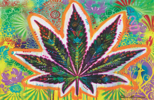 """Psychedelic Leaf by Dean Russo Mini Poster 17"""" x 11"""""""