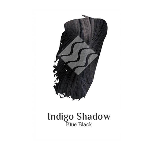 Indigo Shadow blue black hair colour swatch sample
