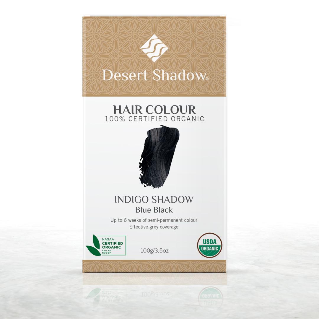 Indigo Shadow - Blue black organic hair colour by Desert Shadow